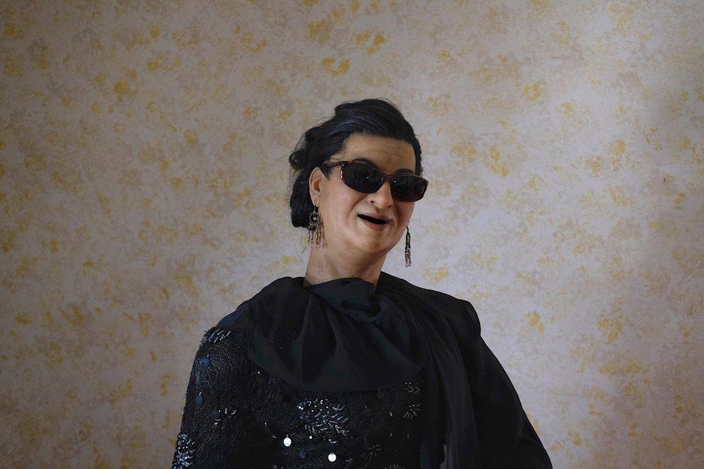 "Hall of Fame, animatronics museum. Umm Kulthum, Arabic singer, ""Star of the Orient""."