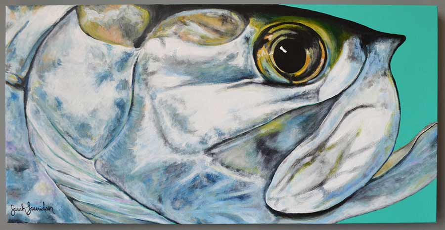 """Tarpon Cheek."" Acrylic on canvas. 30″ X 15″"