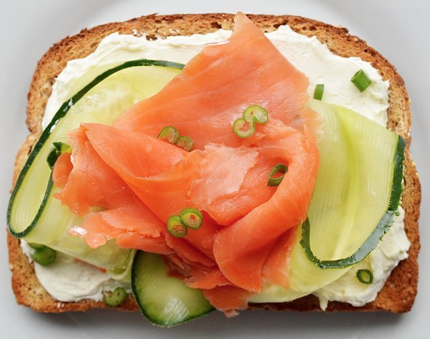 smoked salmon, cucumber, cream cheese and spring onion