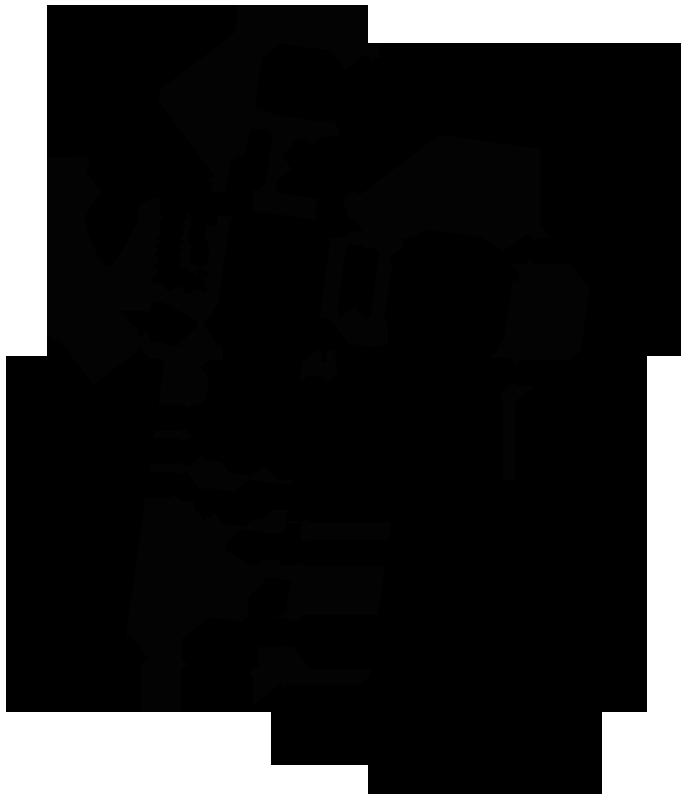 Plan Rez-de-chaussée     Incruster un palais dans l'impasse pavillonnaire.   La Maison Plus est issue d'une division parcellaire, au fond d'un lotissement des années 70, fait de pavillons aux façades soignées, aux allées immaculées et au square impeccablement tondu. Une parcelle carrée de 400 m2 pour une maison de 210 m2.  Une salle à manger d'apparat, en double hauteur, distribue toutes les pièces. Autant lobby que pièce dédiée au repas, elle dévoile la dimension réelle de la maison et les perspectives qui la traversent. A l'étage, une galerie surplombe ce lobby et fait face à une anamorphose trapézoïdale, axée sur la rue. Elle ré-interroge le paysage suburbain et le fait rentrer dans l'habitat.  Cet unique dispositif est compensé par une banalité assumée du projet. Mur de brique recouvert d'un enduit  blanc du littoral , menuiseries en aluminium anodisé, proportions des volumes et pentes de toits traditionnelles. Le toit et les gouttières sont du même aluminium, à l'obsession. Cette maison ne cherche pas l'expression d'un  bon goût . Elle se contente d'exister au milieu de ses voisines, affirme une différence infime sans jamais les toiser. Elle est presque là.