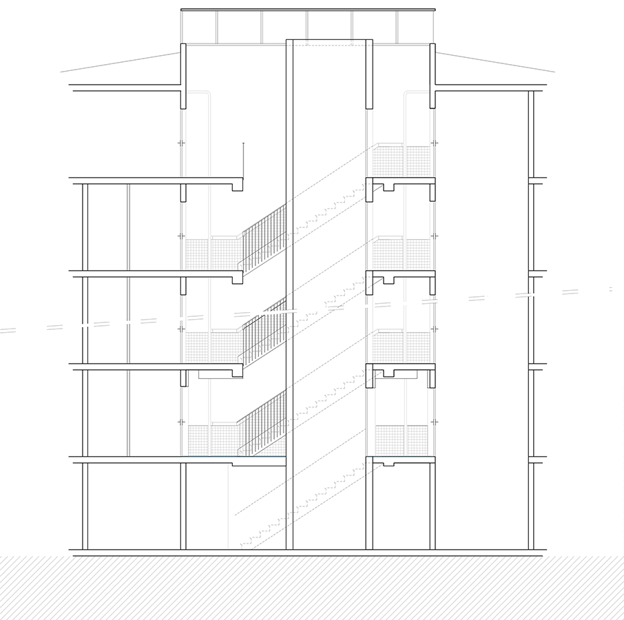 Coupe transversale partielle