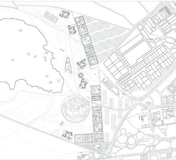 PLAN D'AMENAGEMENT URBAIN DE 70 Ha EN SITE NATUREL PROTEGE -EUROPAN 8    Lieu  Alcazar de San Juan 02300, Espagne  Date  2005  Mission  Etude de stratégie urbaine, projet d'aménagement, esquisse architecturale de logements  Equipe projet  FMAU (mandataire) E.Bonduelle, A.Jammes, S. de Dreuille, H.Cruzado  Programme  Urbanité européenne et projets stratégiques, création de 1 300 logements, 75 000 m2 d'activités  Surface  site 70 ha, 138 000 m2 de logements  Densité  2 000 hab / km2  Maîtrise d'ouvrage  Ville d'Alcaraz de San Juan  Montant des travaux  n.d       Comment coloniser de nouvelles terres entre ville et lagunes par un dispositif suburbain intensifié ?   Parmi les fragments des tissus agricoles et des extensions urbaines, l'identité suburbaine est reconstituée à l'échelle du logo, de la voiture, du bâtiment objet (usine, centre commercial) ou du pavillon de lotissement. La géographie d'un annuaire en somme. Pourtant, nous le savons, le rêve individualiste projeté sur ces territoires est souvent un leurre, tout au plus un compromis médiocre. Les périphéries des villes contiennent les potentiels de modèles plus généreux, rapportés à la dimension spécifique dans laquelle elles se développent. Aujourd'hui, dans le plein profit de leur vitalité, elles appellent une mise à jour qui prendrait positivement acte de ce qu'elles ont révélé: leur inachèvement intrinsèque, une monumentalité qui leur est propre.  Nous proposons, en jouant avec la substance suburbaine de pervertir sa nature de pure spéculation ; d'isoler certaines entités, interroger leur programme, leurs formes, au regard de celles qui les ont précédées. Nous inscrirons leurs qualités sémantiques dans un autre texte qui les dépasse, plus lyrique et plus précis, tant il est vrai qu'habiter au sens où nous l'envisageons nécessite de pouvoir échapper à la confusion, de savoir où l'on habite dans un système de référence large. Un enchaînement de situations luxueuses dans leur nature, une évidence territoriale