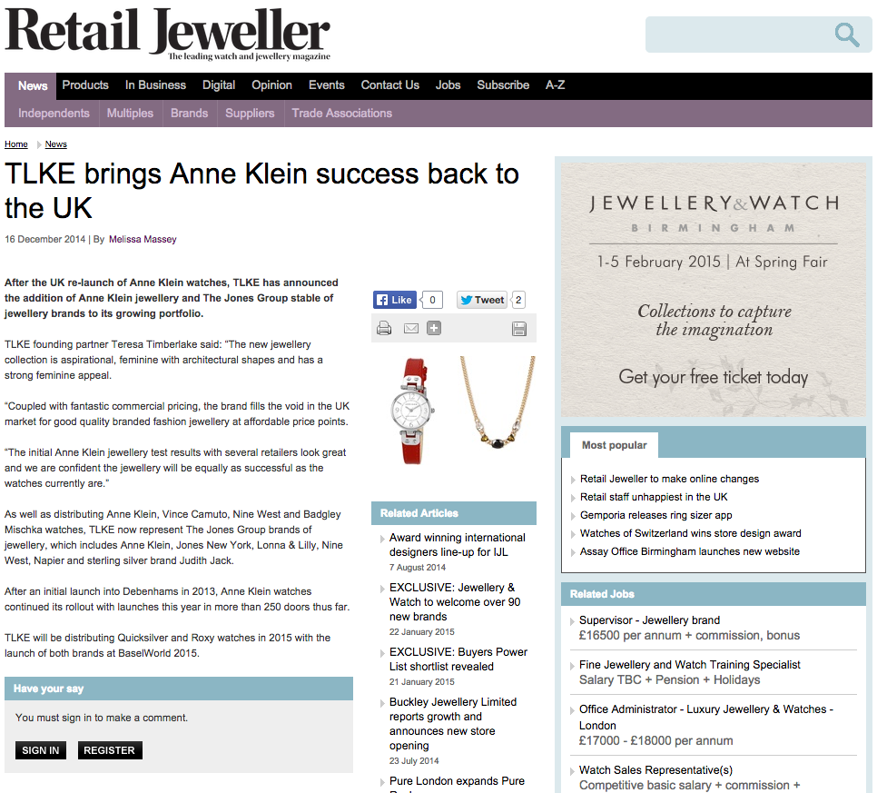 TLKE & Anne Klein story in Retail Jeweller - the leading watch and jewellery magazine