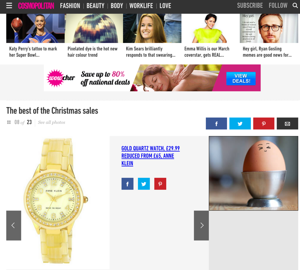 The Anne Klein Gold Quartz Watch as shown on Cosmopolitan.co.uk