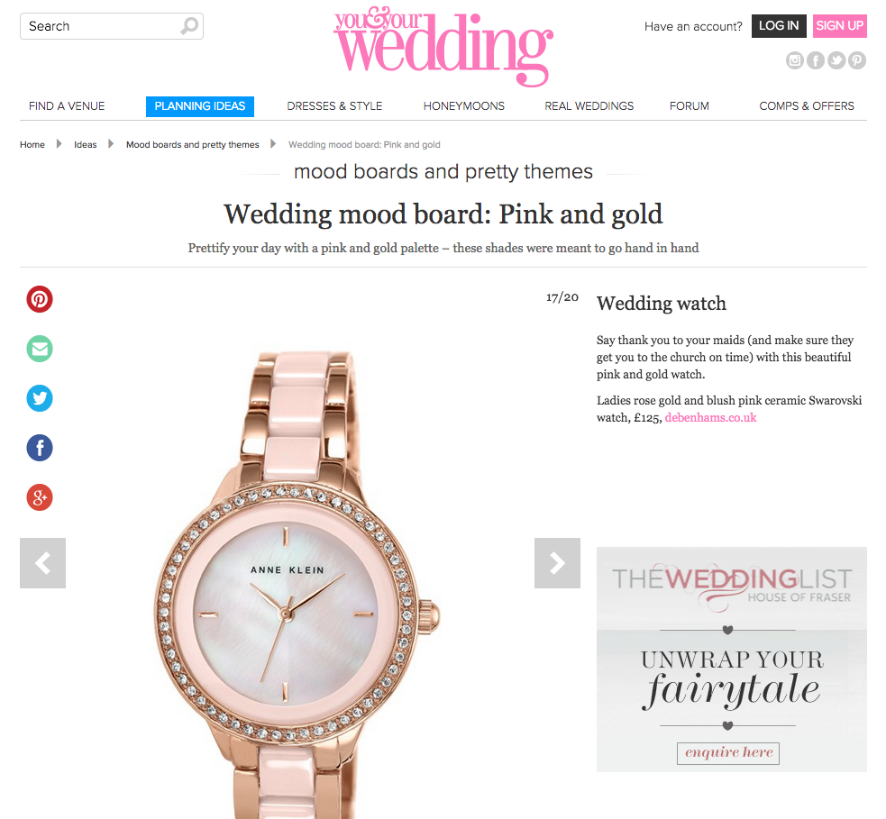 Pink & Gold: Anne Klein Ladies rose gold and blush pink ceramic Swarovski watch (as featured in youandyourwedding.co.uk