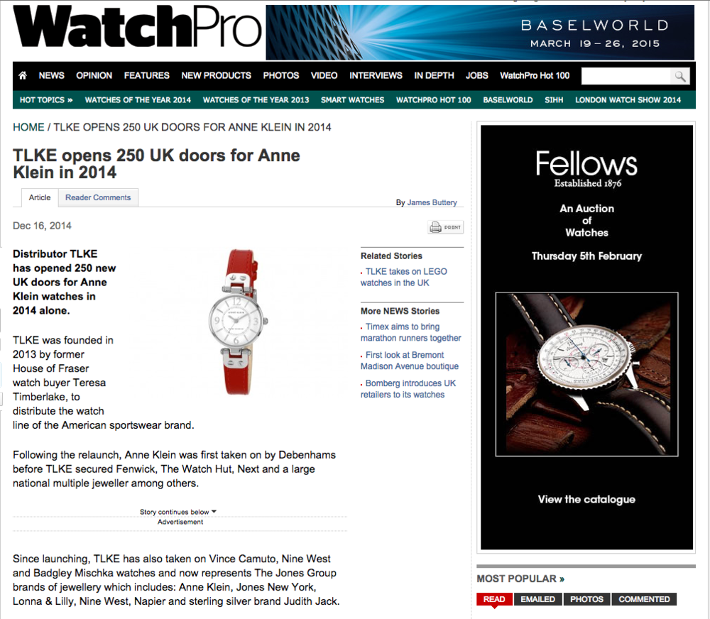 WatchPro review the relaunch of Anne Klein in the UK with TLKE