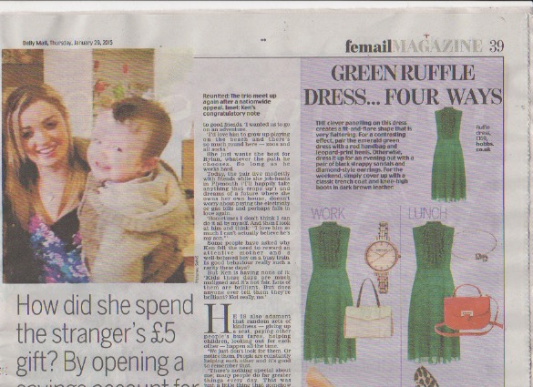 "Anne Klein Ladies gold tone watch features Femail's ""Green Ruffle Dress... Four Ways"" January 2015 article"