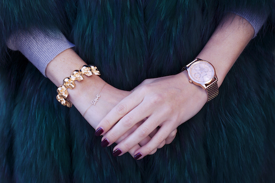 Rosie adorning the Anne Klein rose gold bracelet