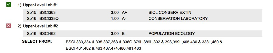 One upper-level lab requirement was met by completing both BSCI363 and BSCI338Q. The student is not taking all the courses needed to satisfy the second upper-level lab requirement. The student may choose to take BSCI463 to satisfy the lab requirement, or the student can take a different course or set of courses instead.