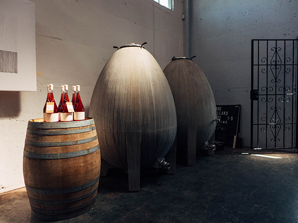 Concrete eggs that are used for some of the picpoul & chenin blanc.