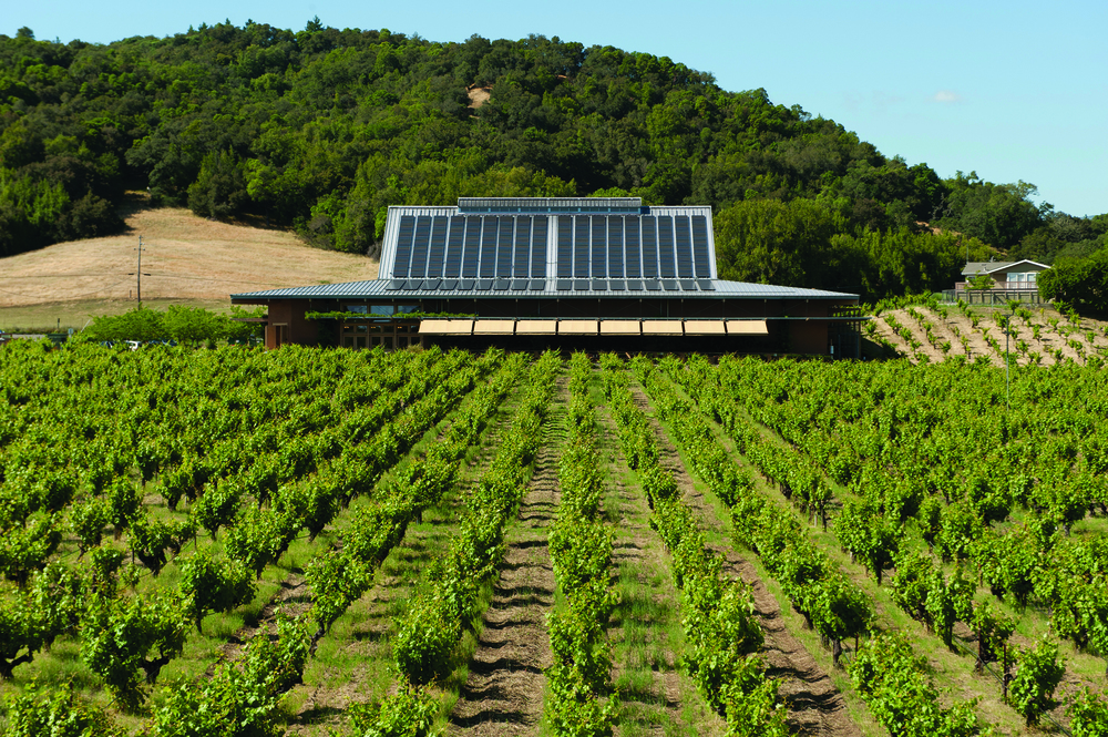Ridge's Lytton Springs tasting room utilizes straw bale construction and solar power.