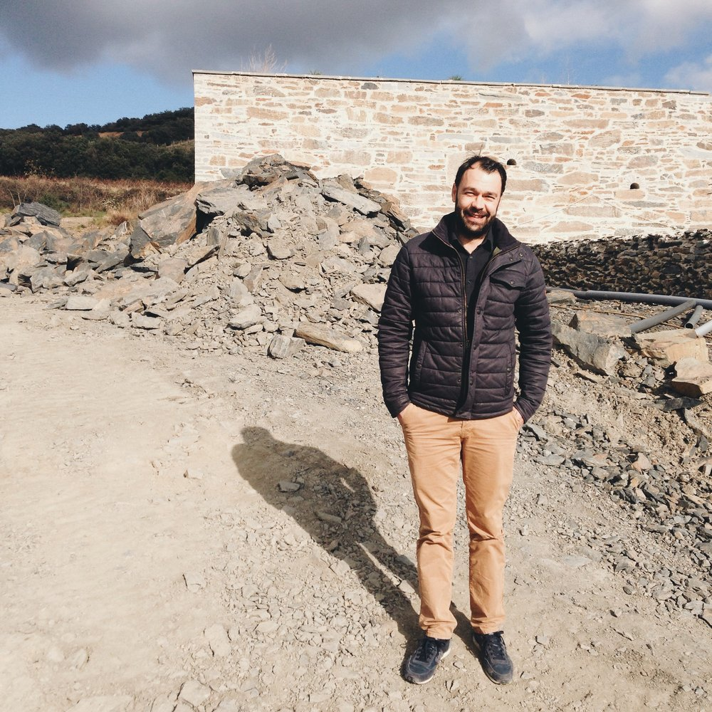 Maxime at the site of his friend's new winery in Faugeres.