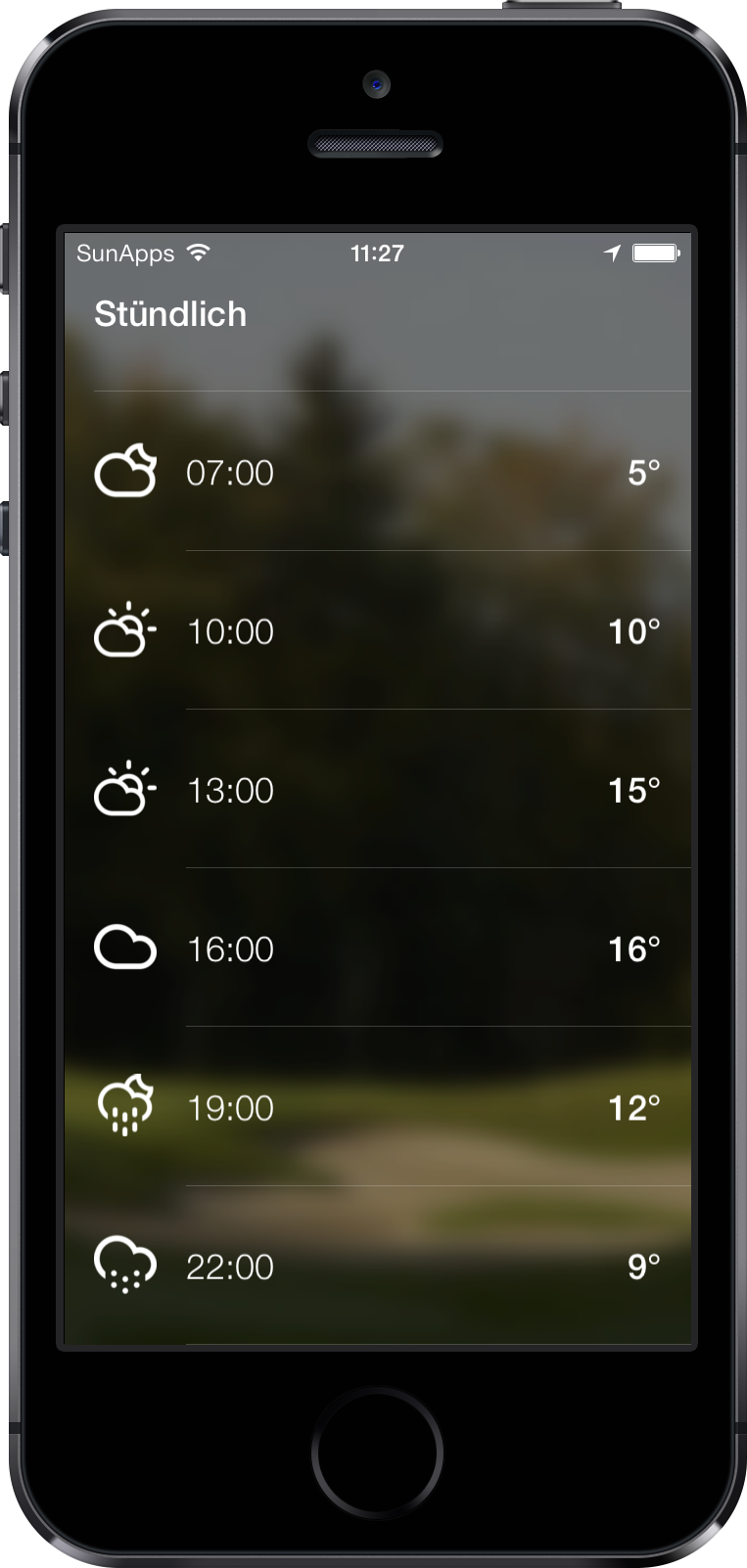 The weather screen