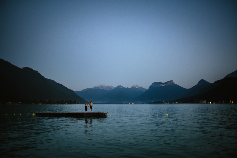 Jasmin and Adrien take a dip in Talloires, France