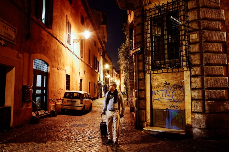 "Arrival in Trastevere, Roma. From my self-portrait series, ""Roma per uno."""