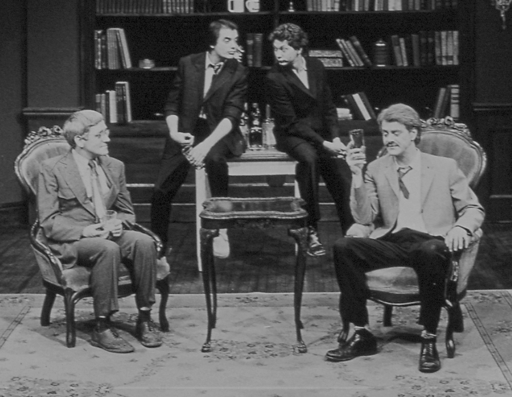 L to R: John Mahoney, Tom Irwin, Jeff Perry, Francis Guinan in No Man's Land  by Harold Pinter at Steppenwolf Theatre (1981).
