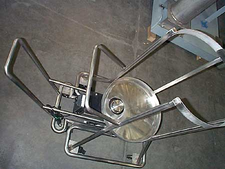 Overhead view of stainless steel cart.
