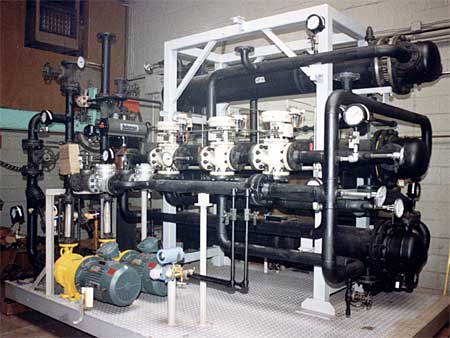 Heating and cooling system for the pharmaceutical industry.