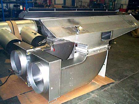 Stainless steel air plenum for removing fumes from product lines