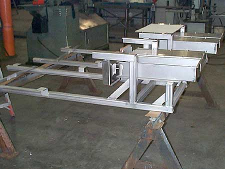 Side view of frames and actuator housings for fill line
