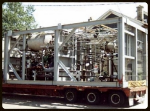 Modular processing skid assembled by AAA Welding being loaded for delivery to Shell Oil (San Francisco, CA) .