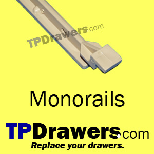 Hardware for your drawer box inserts - monorails & guide brackets.