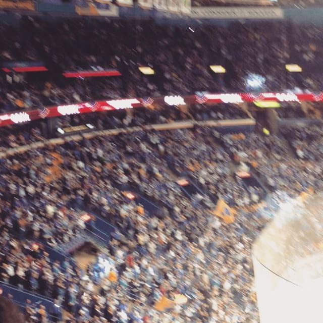 "Quick trip to St. Louis for Game 1 of the Blues/Predators playoffs. Hell of a game! Should be a great series. When we (Blues fan by just a bit) tied it 3-3 that was the loudest thing I've heard in a long time. Trey looks subdued when the Blues score. 😊Also I forgot how watching a live sports event can make you shout things you wouldn't normally say 😳, and jump out of your chair as if on fire 🔥. Took dad, too, and he said ""hey, this is neat...now I know how my dad felt when I took him to the '82 Series."" Some good vibes there! ❤️ #stlouisblues #nashvillepredators #nhlplayoffs #greattime"