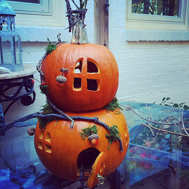 Our first pumpkin house, from 2014.