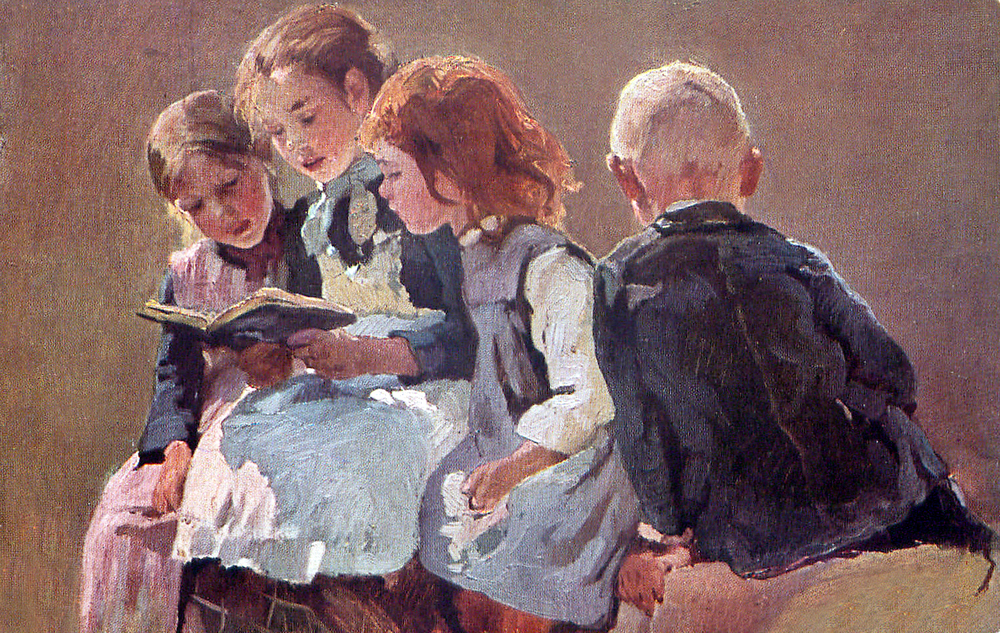 A Vintage Illustration of children reading together