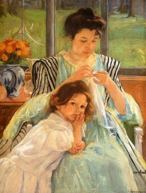 Young Mother Sewing, 1900 - This Cassatt painting lives at the Metropolitan Museum of Art in New York