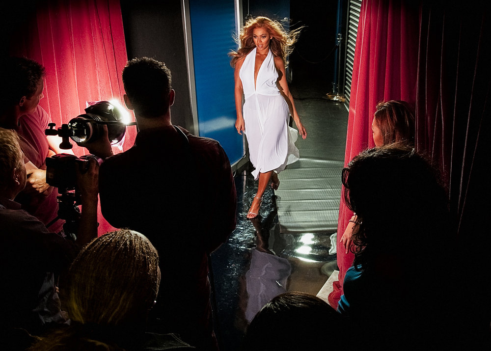 Behind the scenes with Beyonce shooting advertising campaign for Tommy Hilfiger True Star,  Photograph by Sam Faulkner
