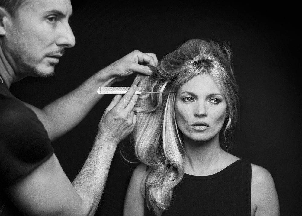 Kate Moss has her hair styled by Luigi Murenu for Kerastase advertising campaign. Photograph by Sam Faulkner