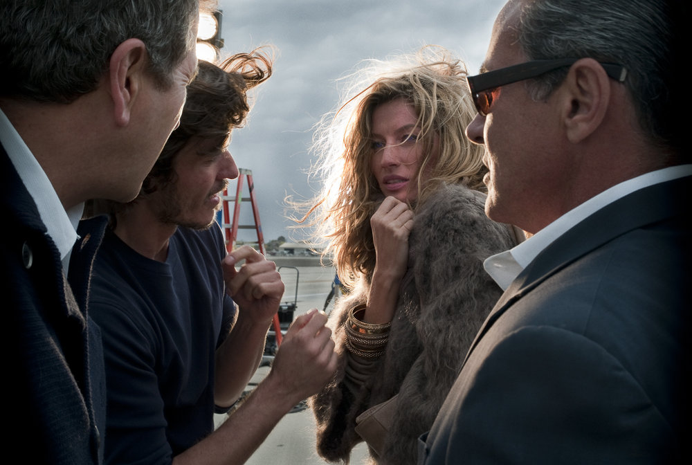 Gisele Bundchen behind the scenes for Stefanel