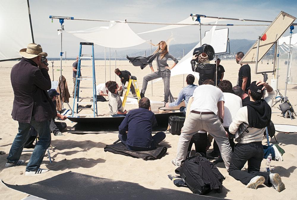 On set with Gisele Bundchen for Stefanel