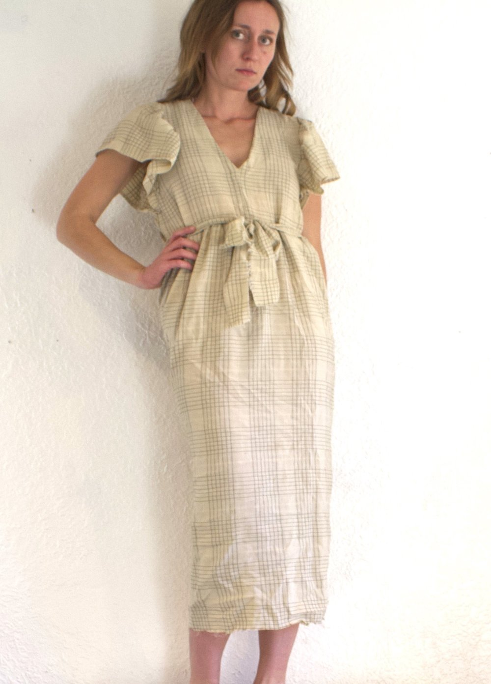 Plaid Flutter Sleeve Dress - $98  + 40% off!