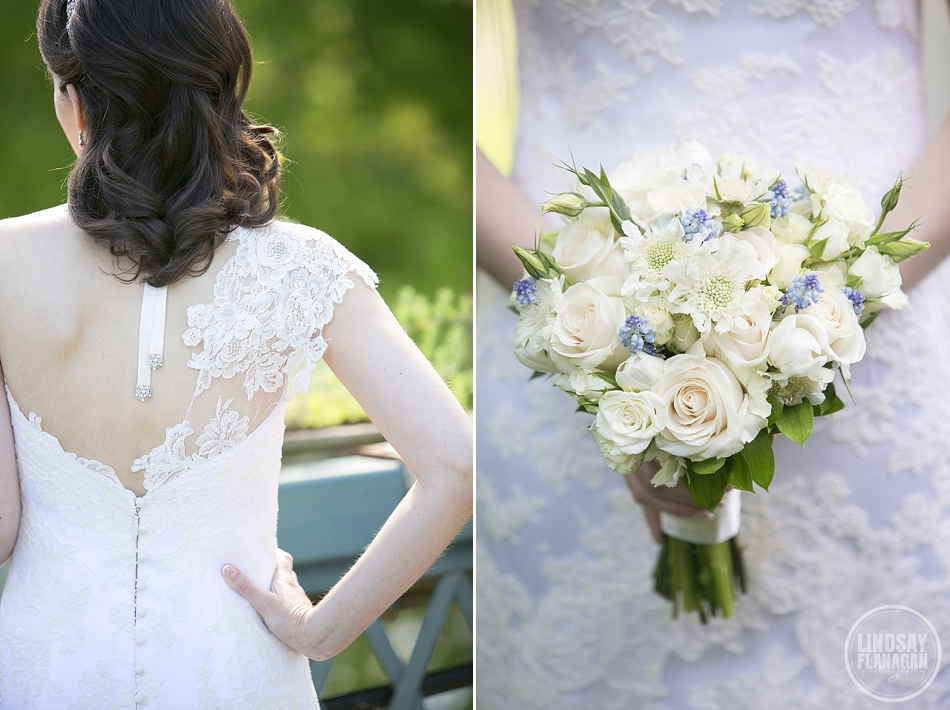 Anna Maier Wedding Dress detail and bride's bouquet from Dragonfly Event