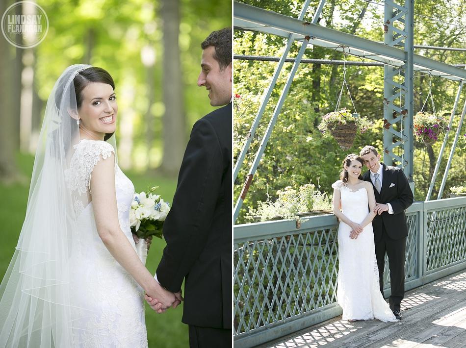 Bride and Groom Portrait on The Flower Bridge