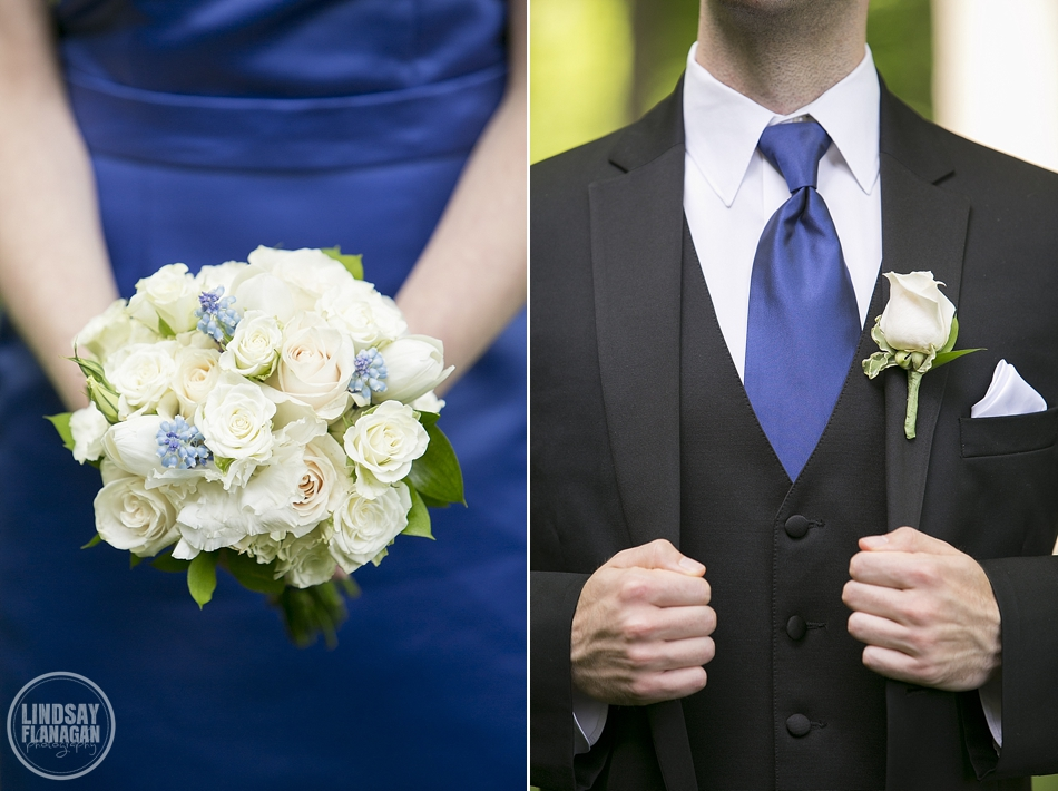 Blue and White bridesmaid bouquet and Groomsmen detail