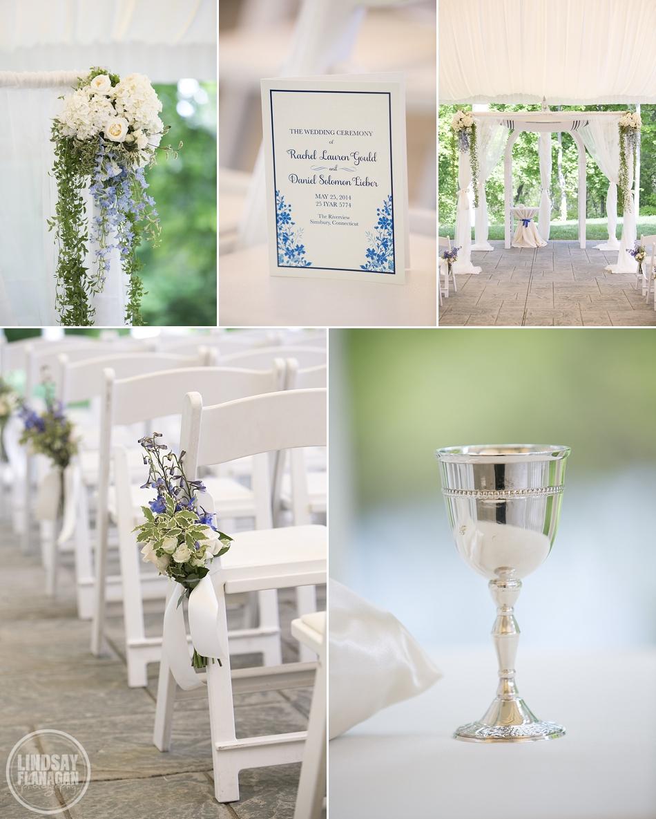 Wedding ceremony flowers, huppah, program and kiddush cup