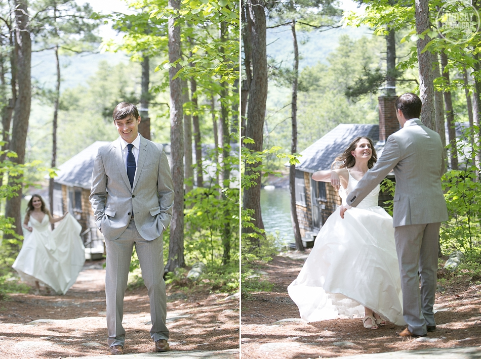 Rockywold Deephaven camp wedding bride groom first look
