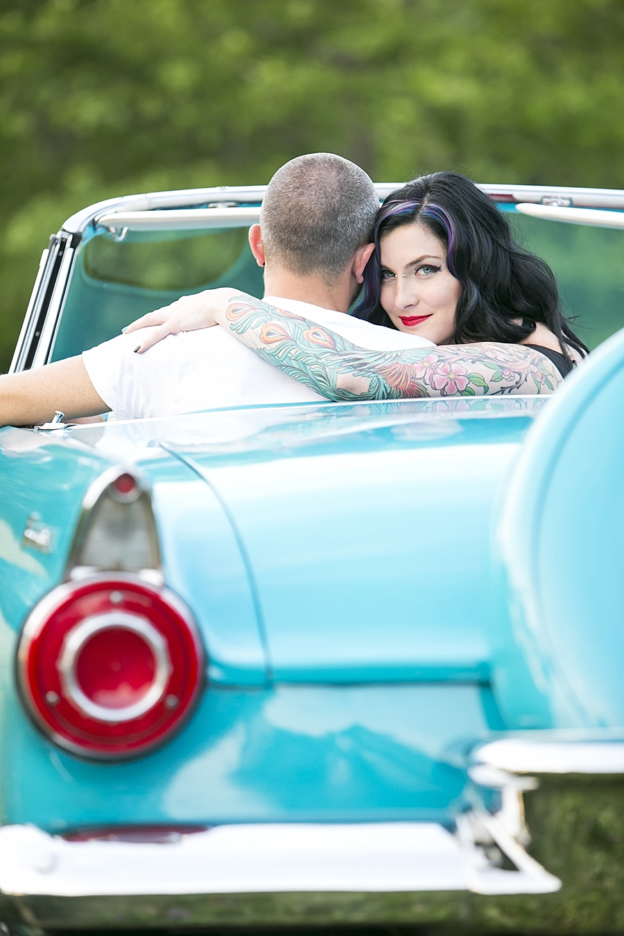 Vintage Engagement Portrait Turquoise Thunderbird