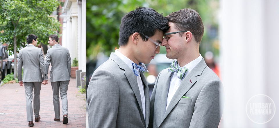 Same Sex Gay Wedding Grooms Portrait Cambridge Massachusetts