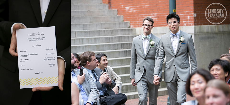 Same Sex Gay Wedding Processional Program Outdoors Cambridge