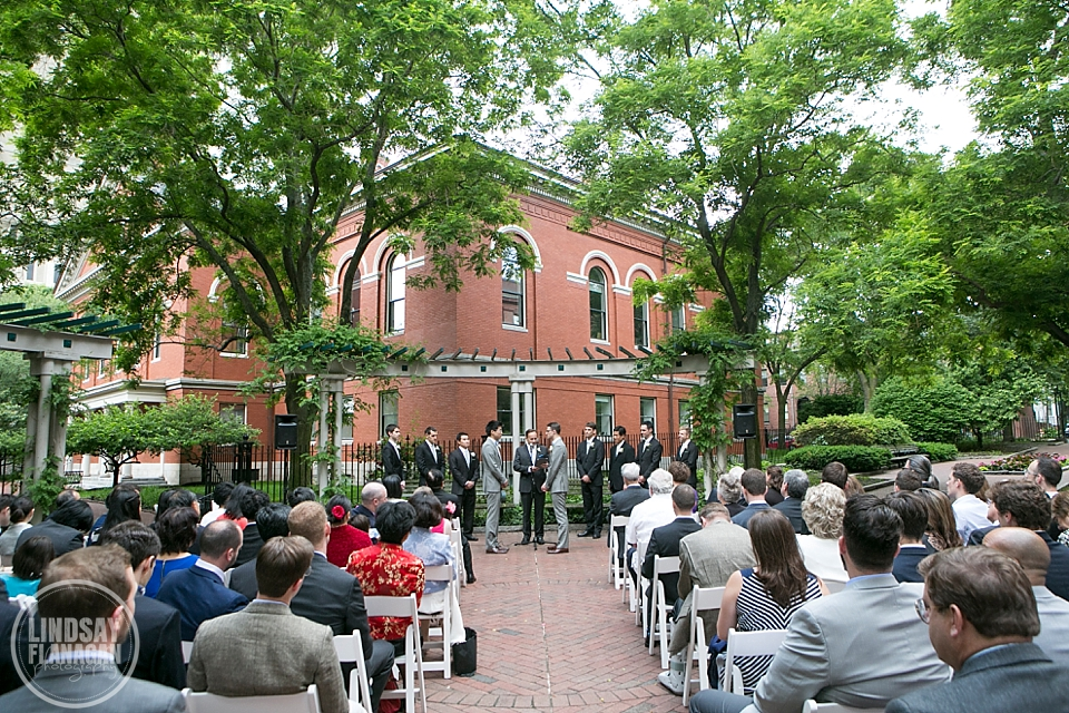 Same Sex Gay Wedding Ceremony Outdoors Cambridge Massachusetts