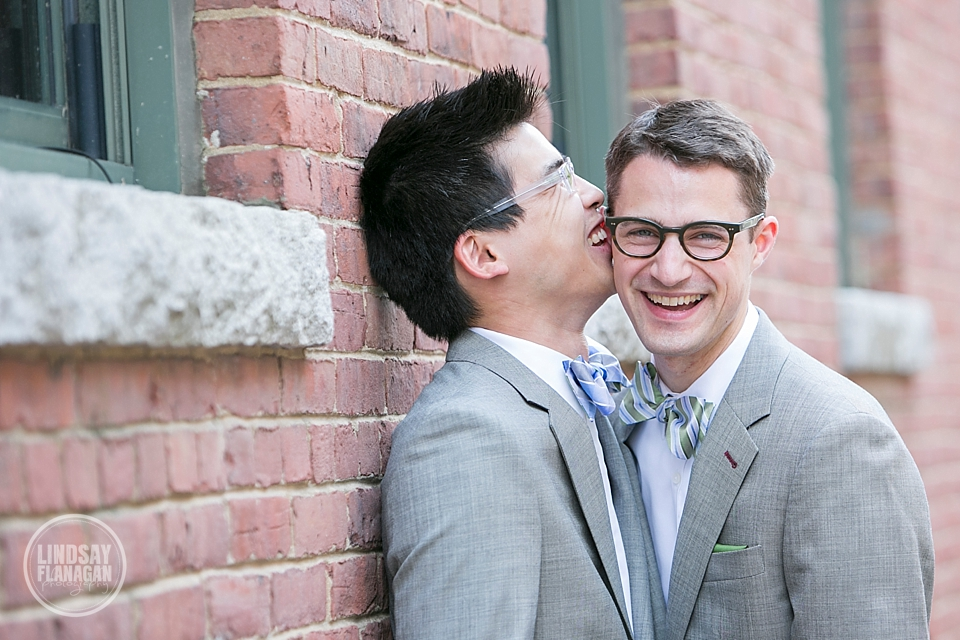 Same Sex Gay Wedding Grooms Portrait Cambridge Bowties