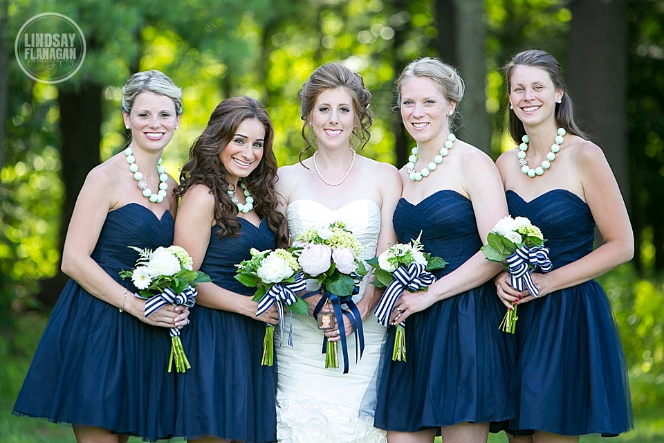 LaBelle Winery Wedding Bride with Bridesmaids / Bridal Party wearing Navy