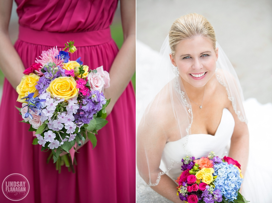 Hanover Inn New Hampshire Wedding Bride Bouquet Colorful Pink Summersweet Floral