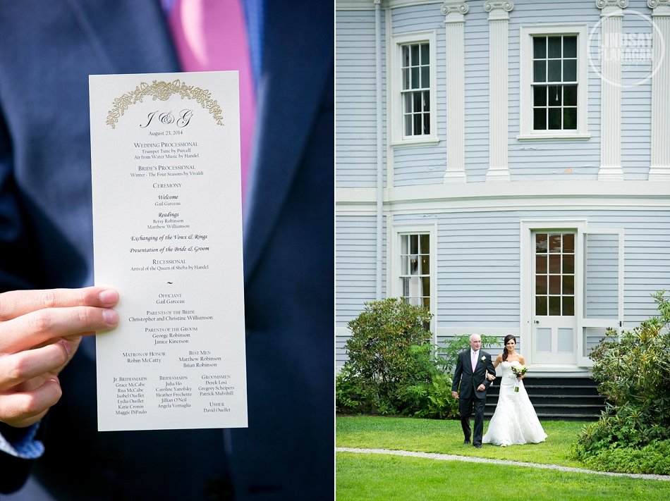 Lyman Estate Massachusetts Wedding Ceremony Program Processional