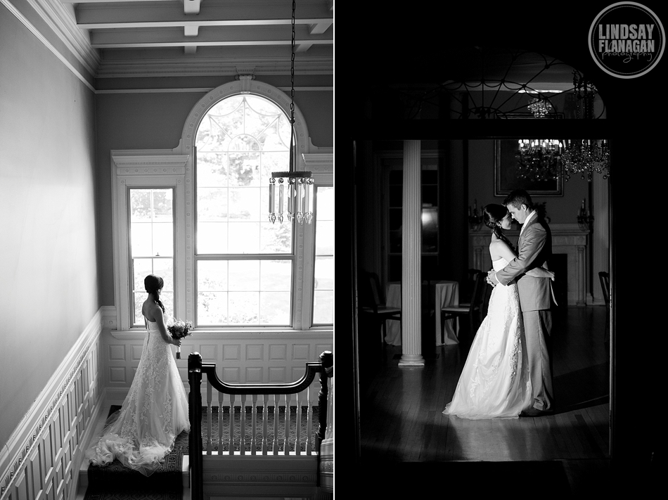Lyman Estate Massachusetts Wedding Black and White Bride Groom Portrait