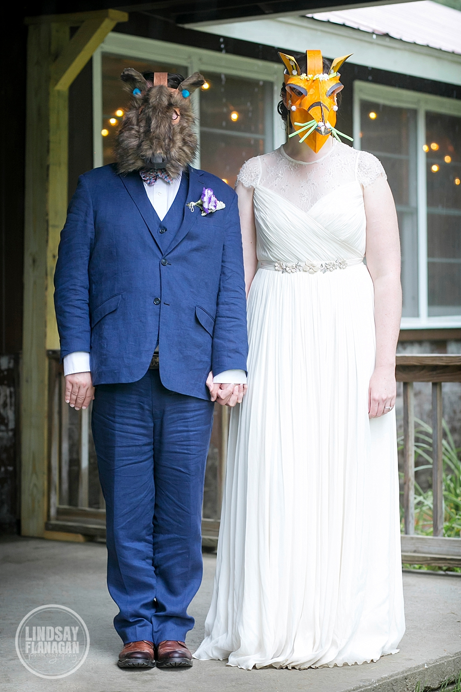 Vermont-Camp-Wedding-Bride-Groom-Face-Masks